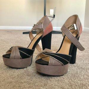 Pink, grey, black Lauren Conrad platform heels.